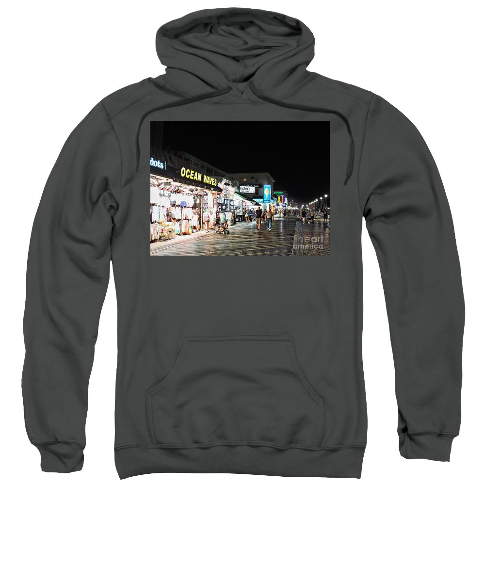 Boardwalk Sweatshirt featuring the photograph Bright Lights On The Boards by Doug Swanson
