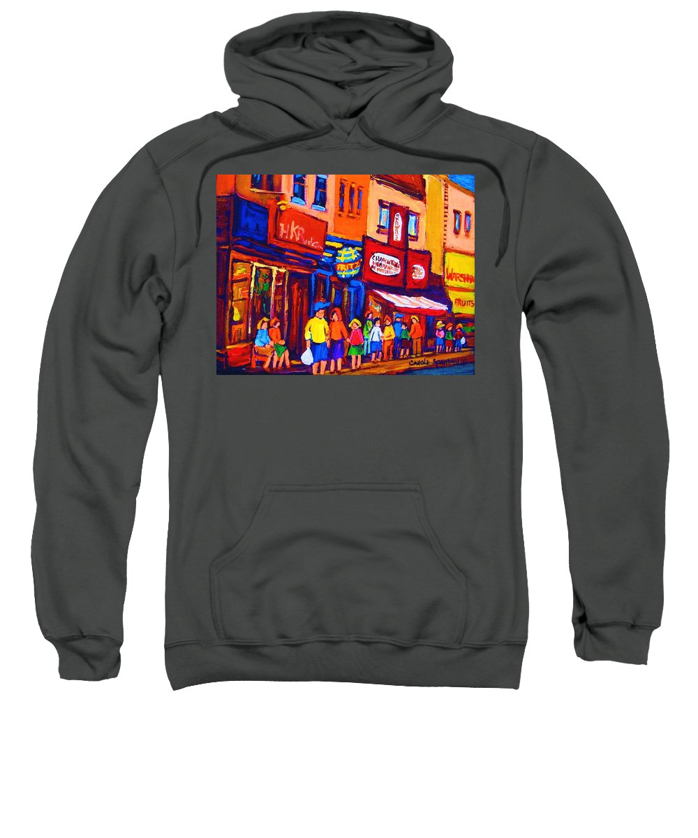 Schwartz's Hebrew Deli Sweatshirt featuring the painting Bright Lights On The Main by Carole Spandau
