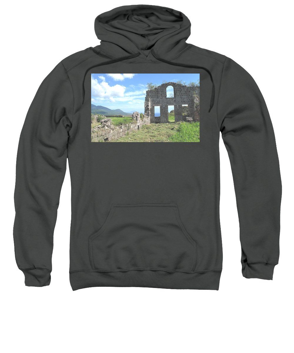 St Kitts Sweatshirt featuring the photograph Brimstone Ruins by Ian MacDonald