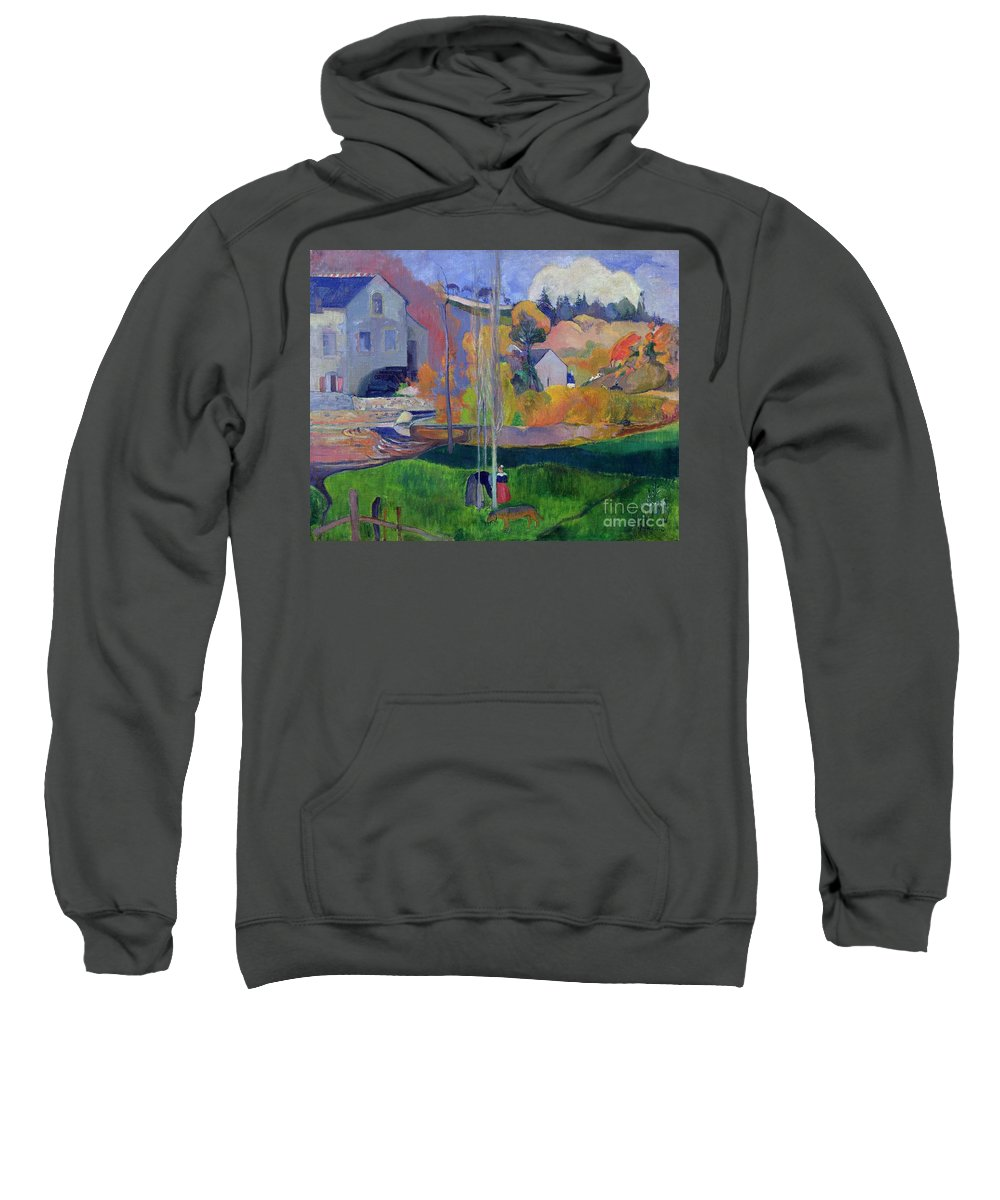 Brittany Landscape: The David Mill Sweatshirt featuring the painting Brittany Landscape by Paul Gauguin
