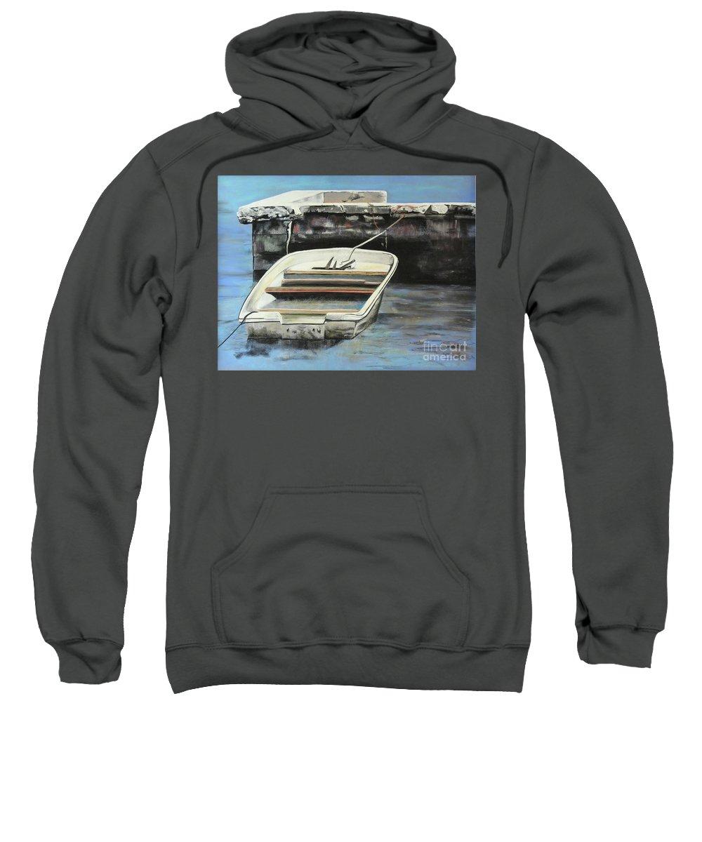 Fishing Sweatshirt featuring the pastel Broke Down In West End by Leo Devillers