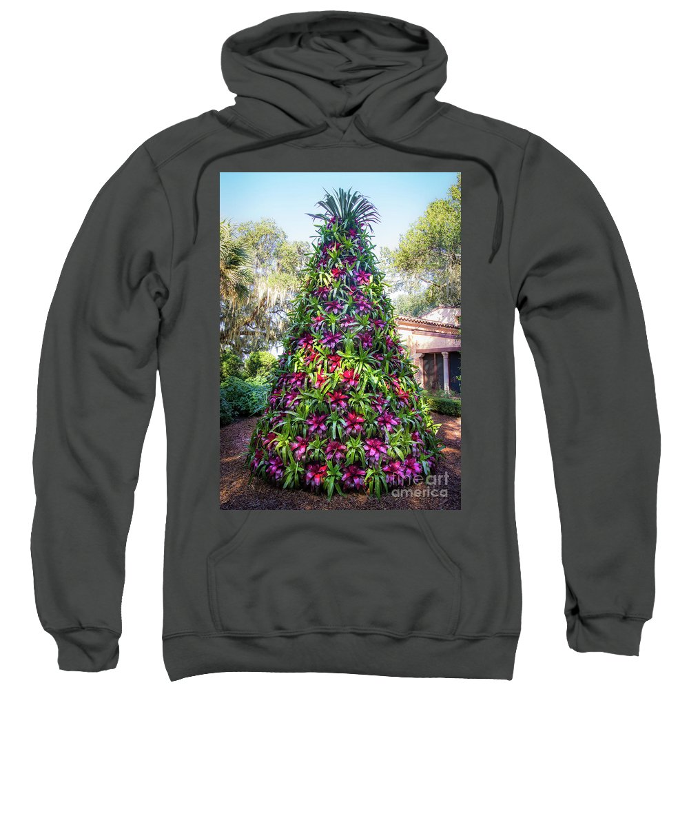 Austin Buck Sweatshirt featuring the photograph Bromeliad Christmas Tree At Pinewood Estate, Bok Tower by Liesl Walsh