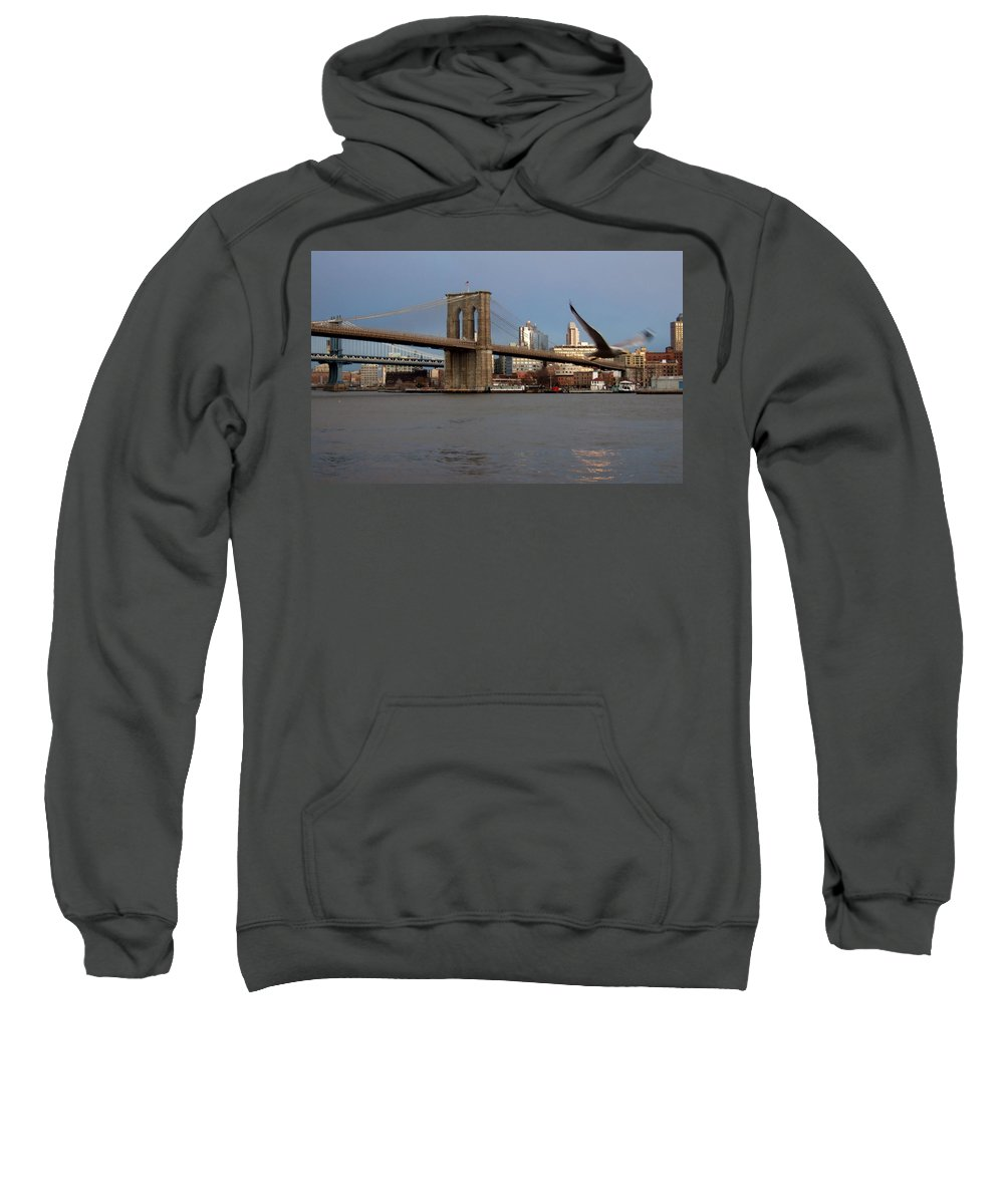 Brooklyn Bridge Sweatshirt featuring the photograph Brooklyn Bridge And Bird In Flight by Anita Burgermeister