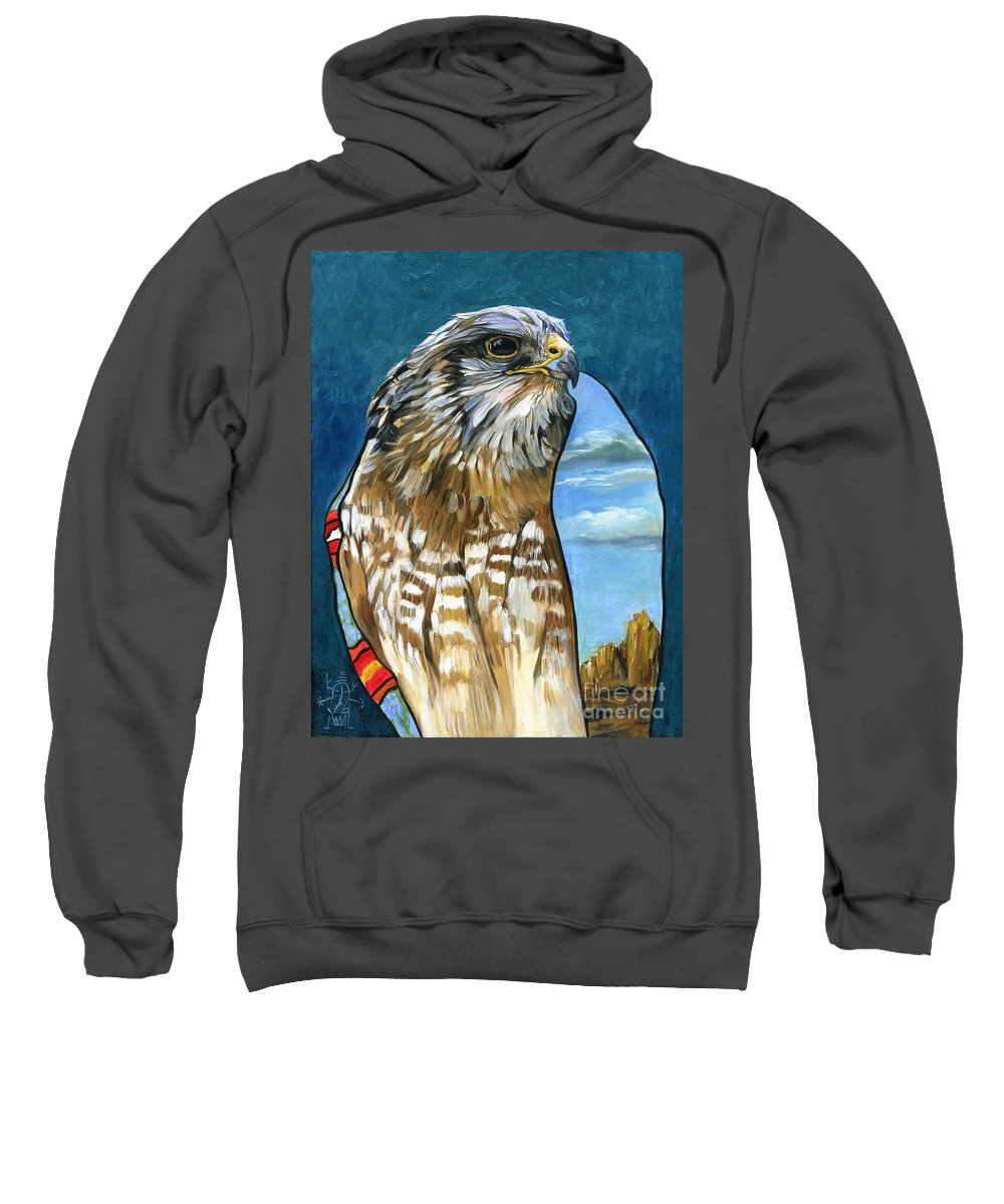 Hawk Sweatshirt featuring the painting Brother Hawk by J W Baker