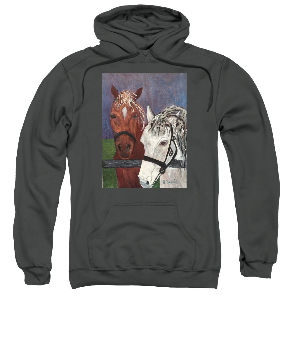 Horses Sweatshirt featuring the painting Brown And White Horses by Anne Sands
