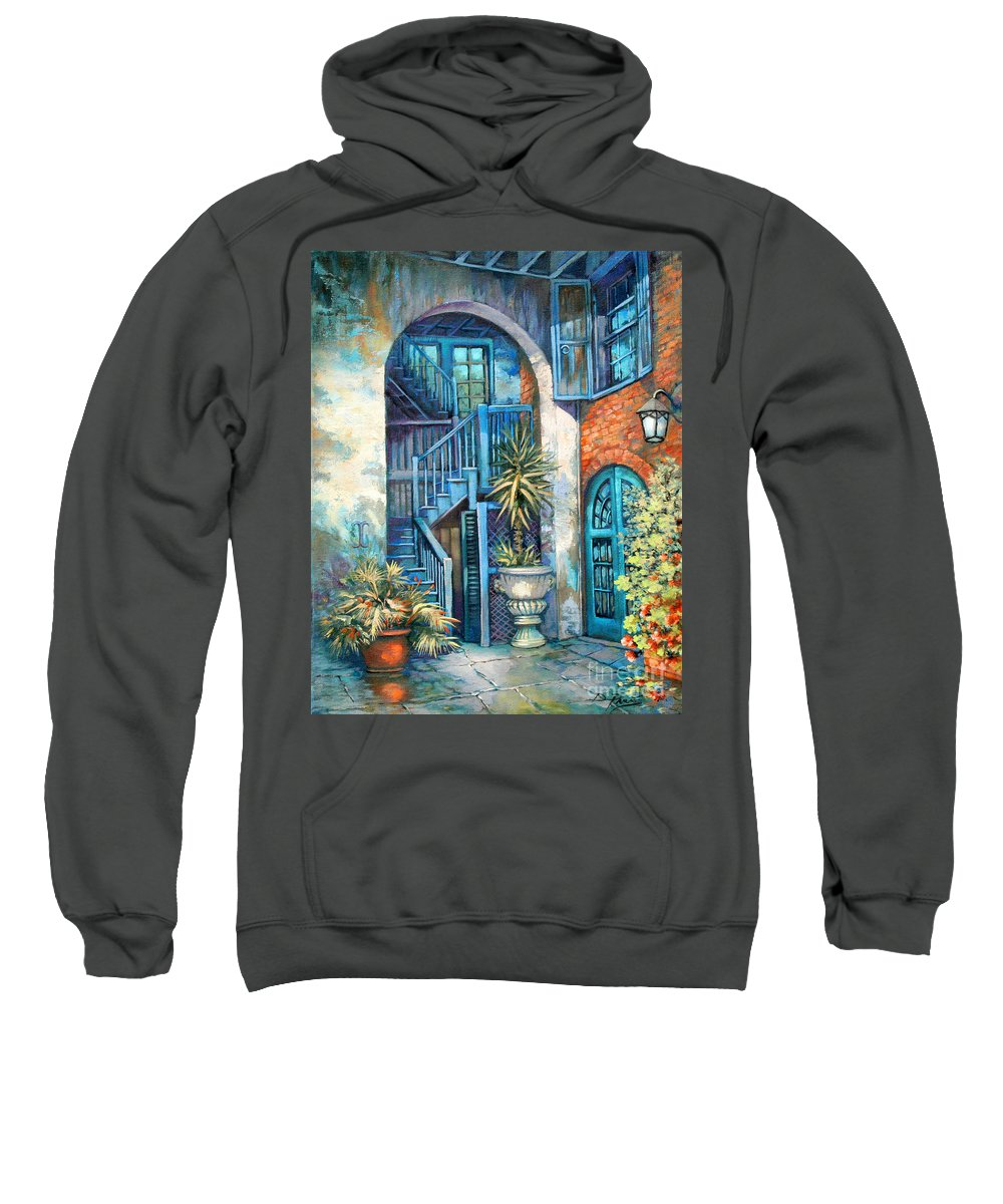 New Orleans Art Sweatshirt featuring the painting Brulatour Courtyard by Dianne Parks