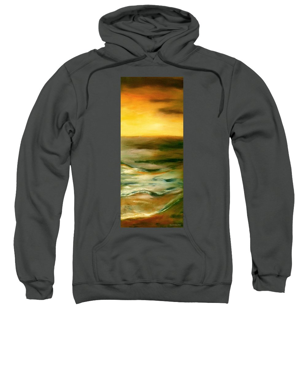 Abstract Sweatshirt featuring the painting Brushed 4 - Vertical Sunset by Gina De Gorna