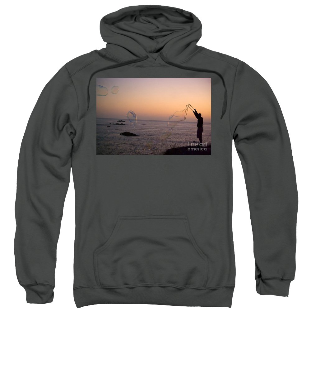 Bubbles Sweatshirt featuring the photograph Bubbles On The Beach by Jim And Emily Bush