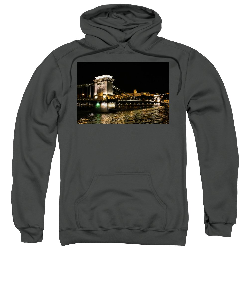 Night Scape Sweatshirt featuring the photograph Chain Bridge And Buda Castle by Lisa Lemmons-Powers