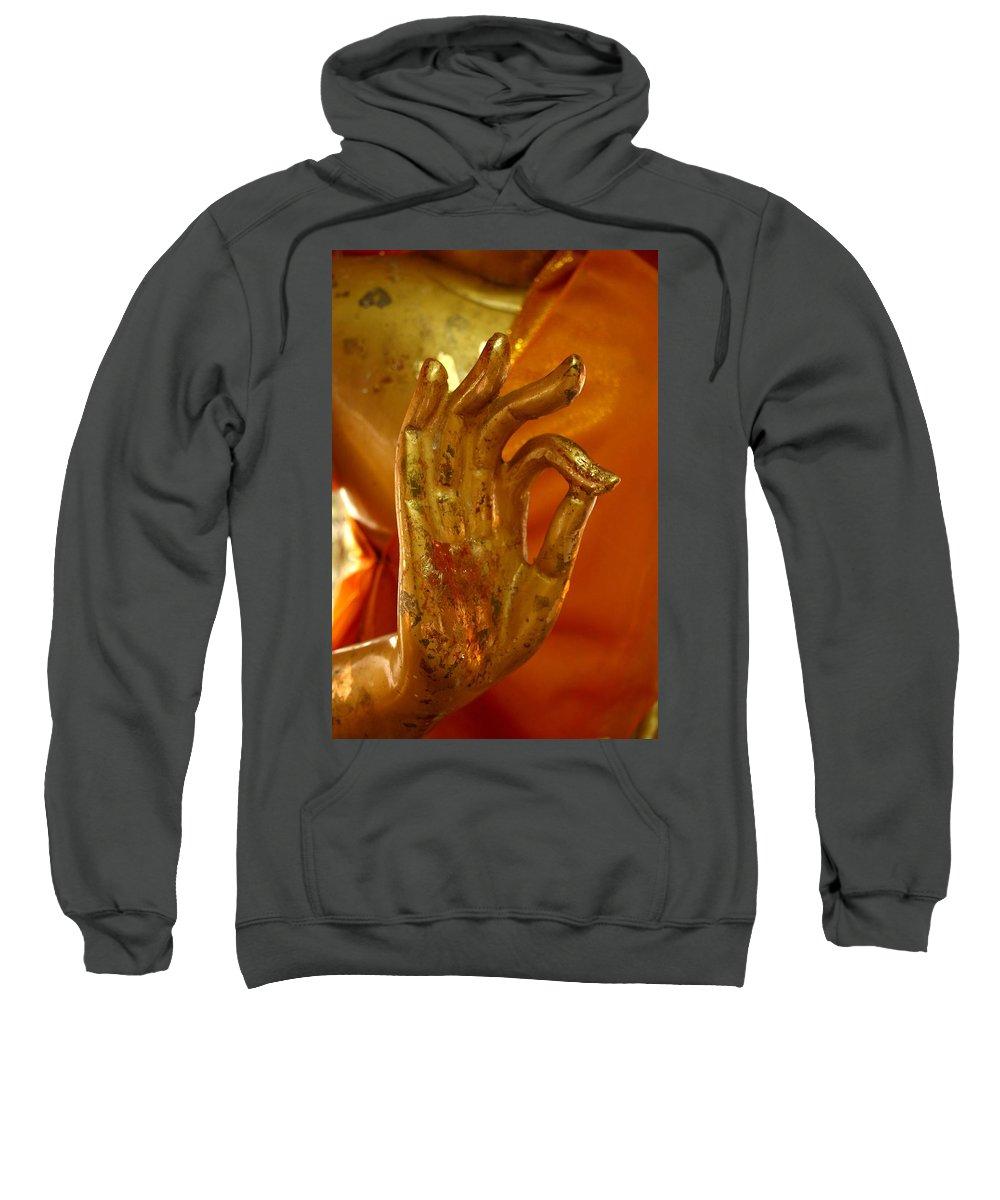 Buddhism Sweatshirt featuring the photograph Buddhism Symbols by Minaz Jantz