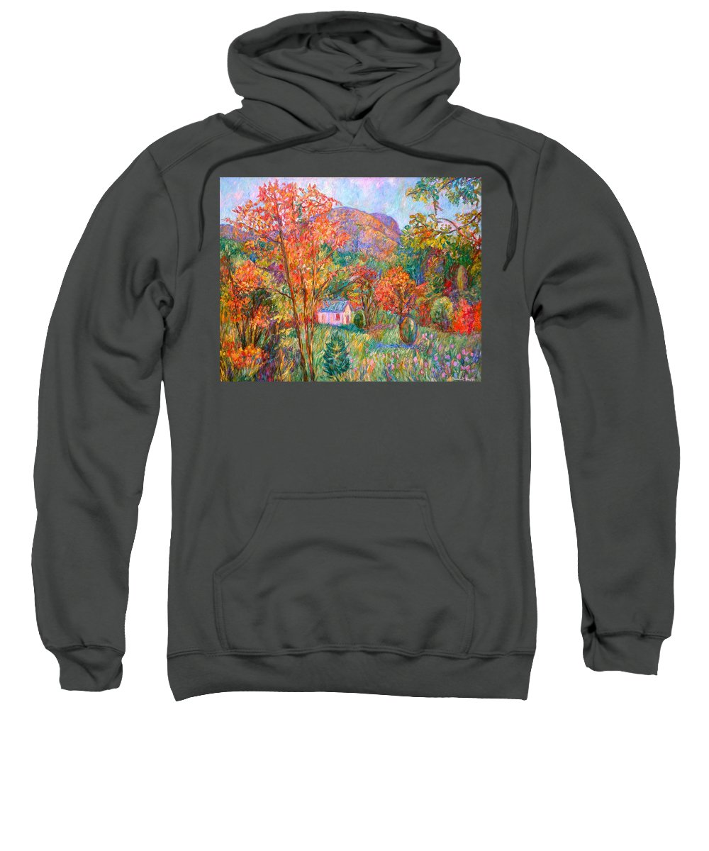 Landscape Sweatshirt featuring the painting Buffalo Mountain In Fall by Kendall Kessler