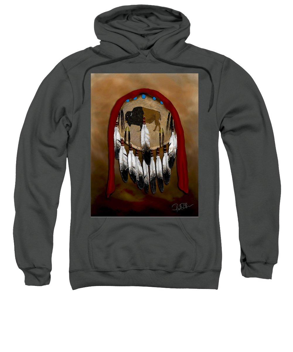 Buffalo Sweatshirt featuring the painting Buffalo Shield by Pablo DeLuna