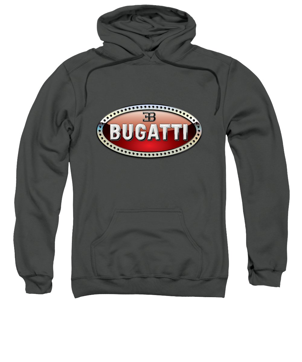 �wheels Of Fortune� Collection By Serge Averbukh Sweatshirt featuring the photograph Bugatti - 3 D Badge On Red by Serge Averbukh