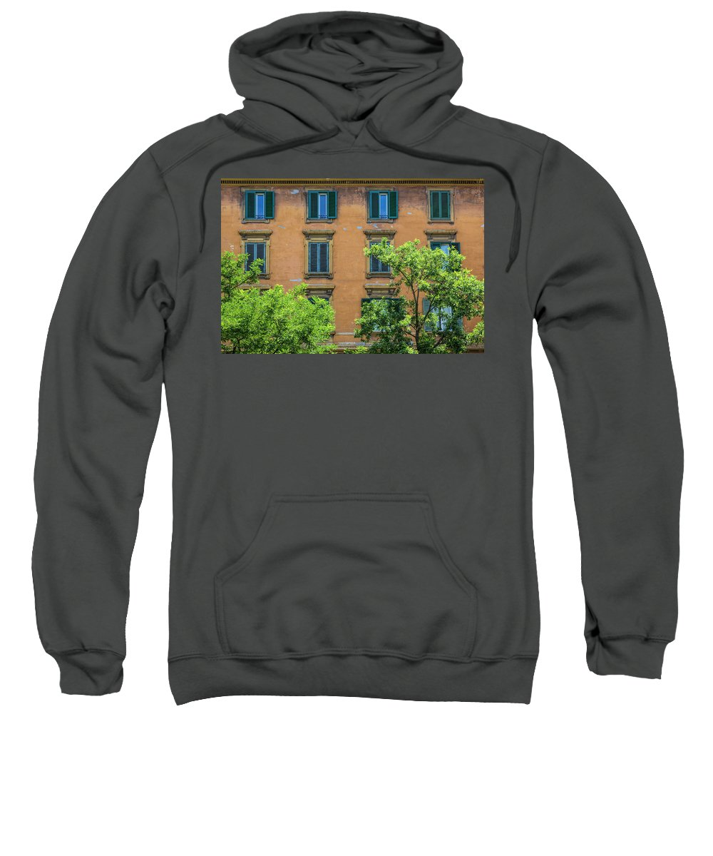 Rome Europe European Italy Italia Rome Roma Roman History Historic Beautiful Style Romantic Romance Summer In Italy Landmark Monument Capital Tiber Architecture Architectural Buildings Weathered Summer In Rome Red Brick Sweatshirt featuring the photograph Buildings Opposite The Vatican Museum by Michael Evans