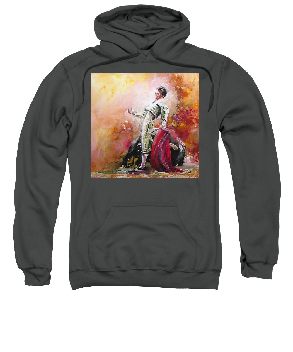 Animals Sweatshirt featuring the painting Bullfight 24 by Miki De Goodaboom