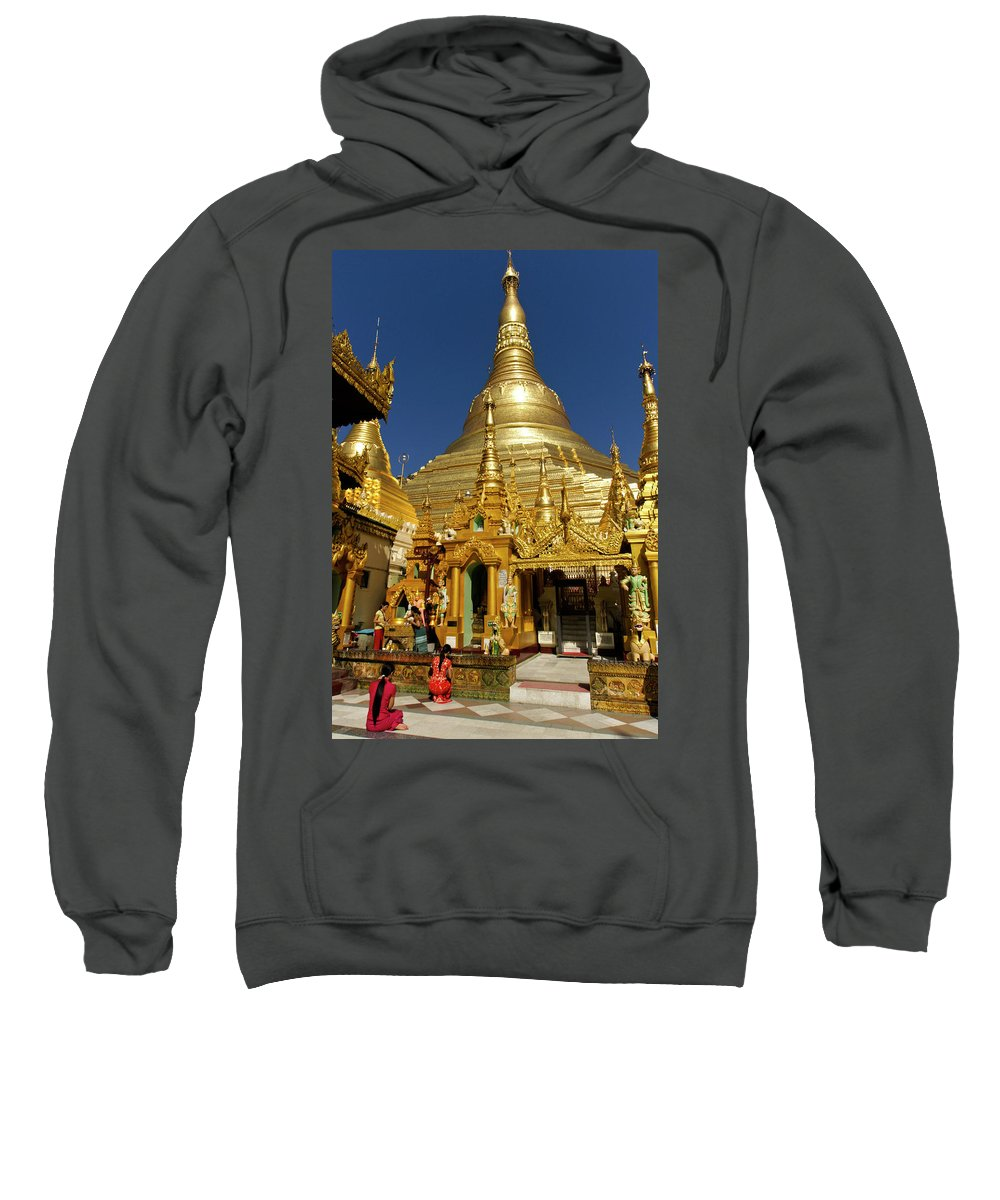 Asia Sweatshirt featuring the photograph Burma's Golden Pagoda by Michele Burgess