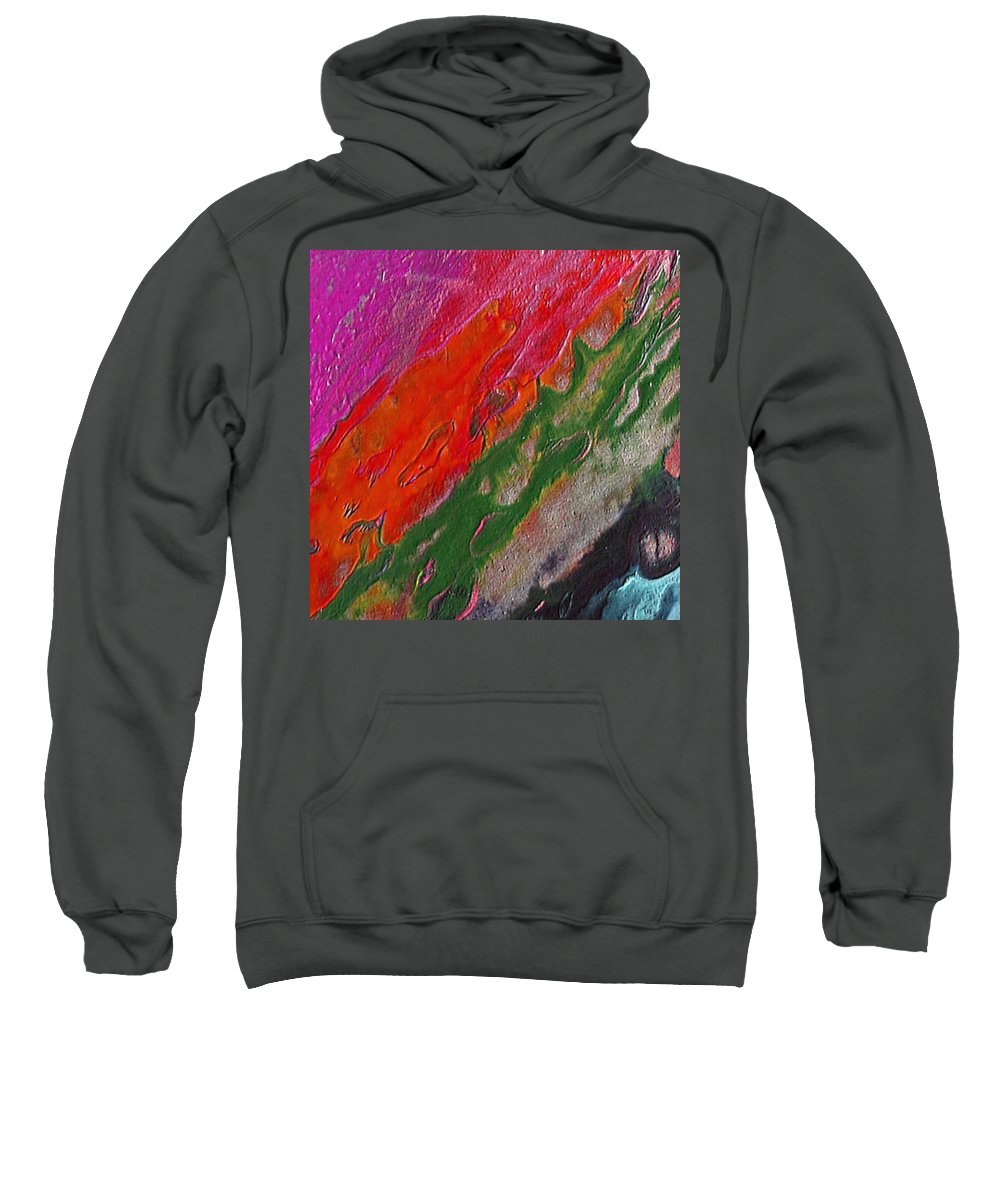 Abstract Encaustic Painting Sweatshirt featuring the painting Burning Lava by Dragica Micki Fortuna