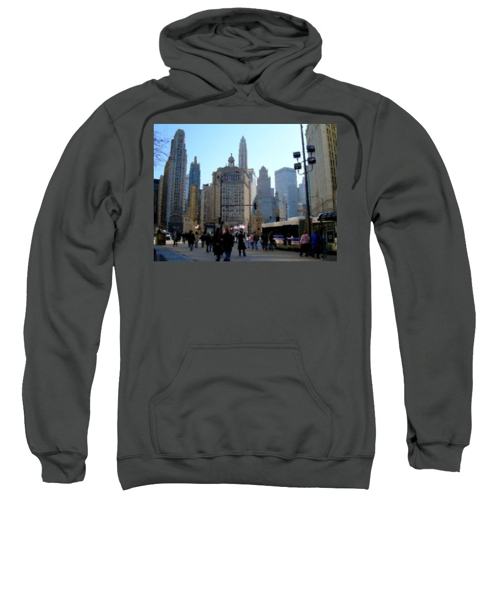 Archtecture Sweatshirt featuring the digital art Bus On Miracle Mile by Anita Burgermeister