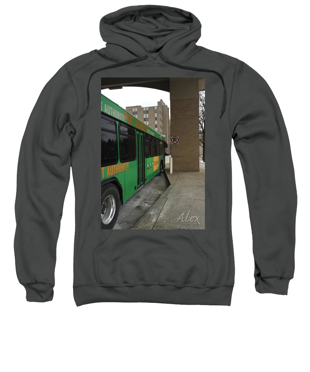 City Bus Sweatshirt featuring the photograph Bus Stop by Alexsondra Baumcratz