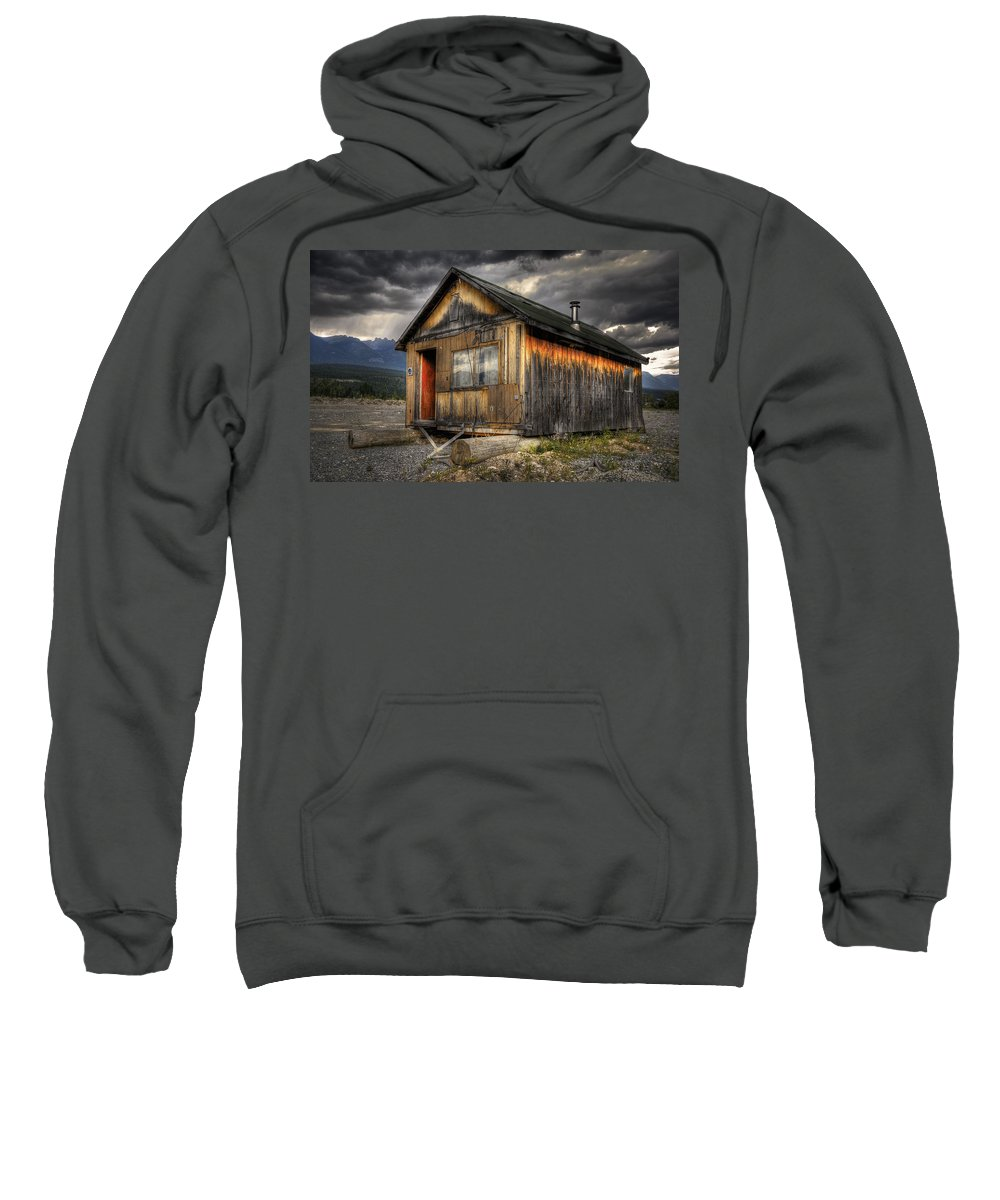 Architecture Sweatshirt featuring the photograph Busted Shack by Wayne Sherriff