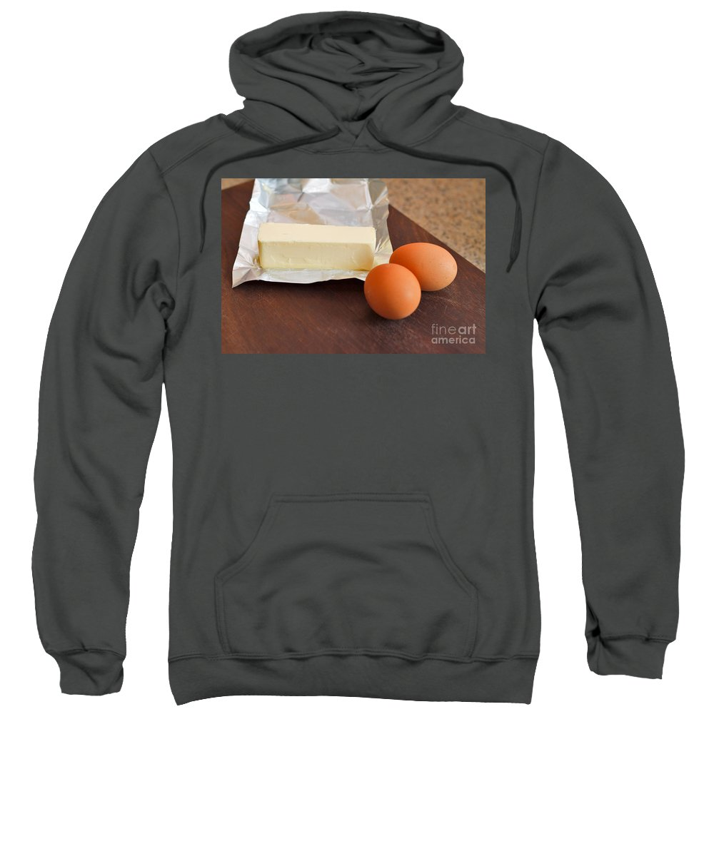 Kitchen Sweatshirt featuring the photograph Butter And Eggs by Louise Heusinkveld