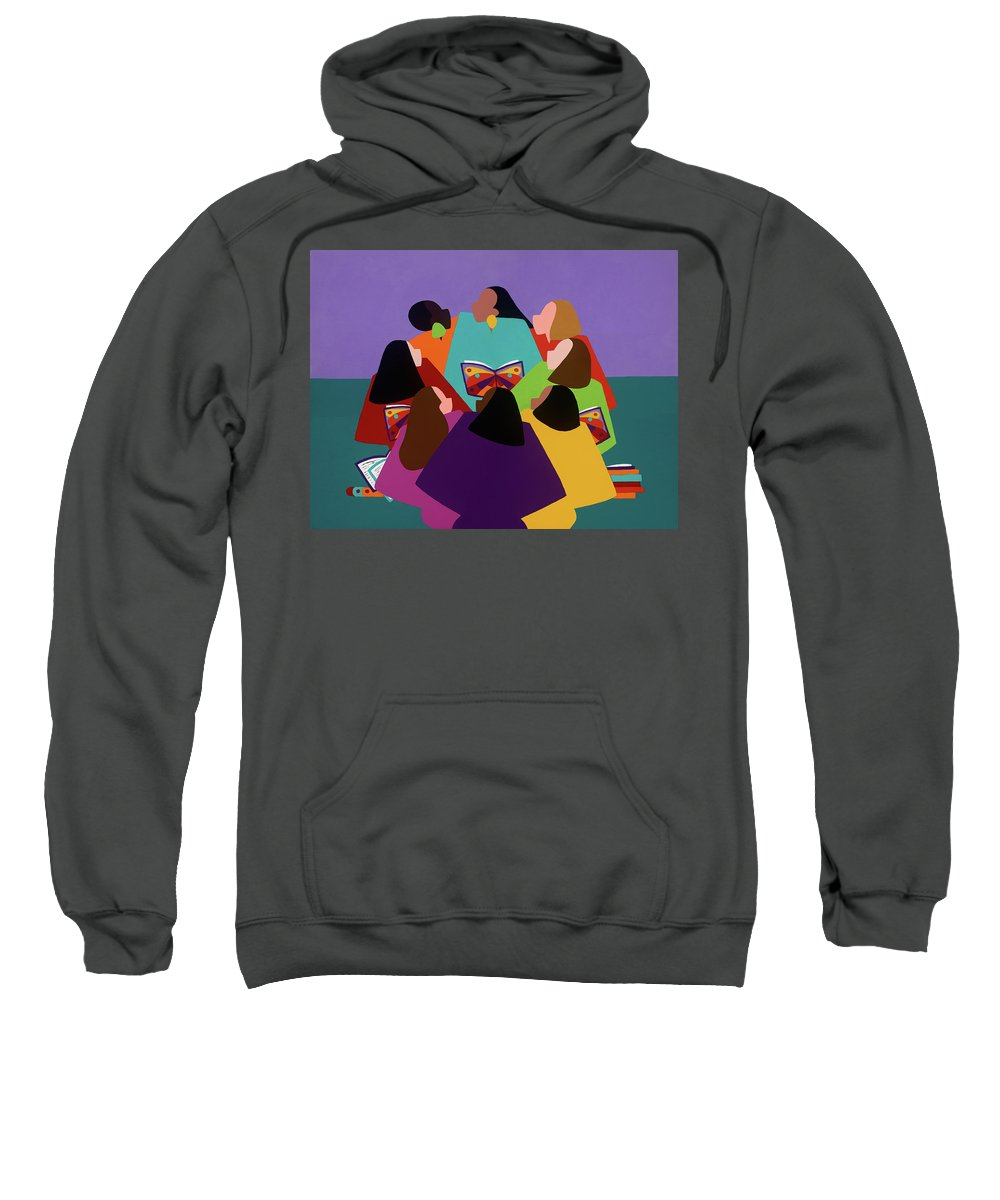 Multicultural Sweatshirt featuring the painting Butterflies Dream by Synthia SAINT JAMES