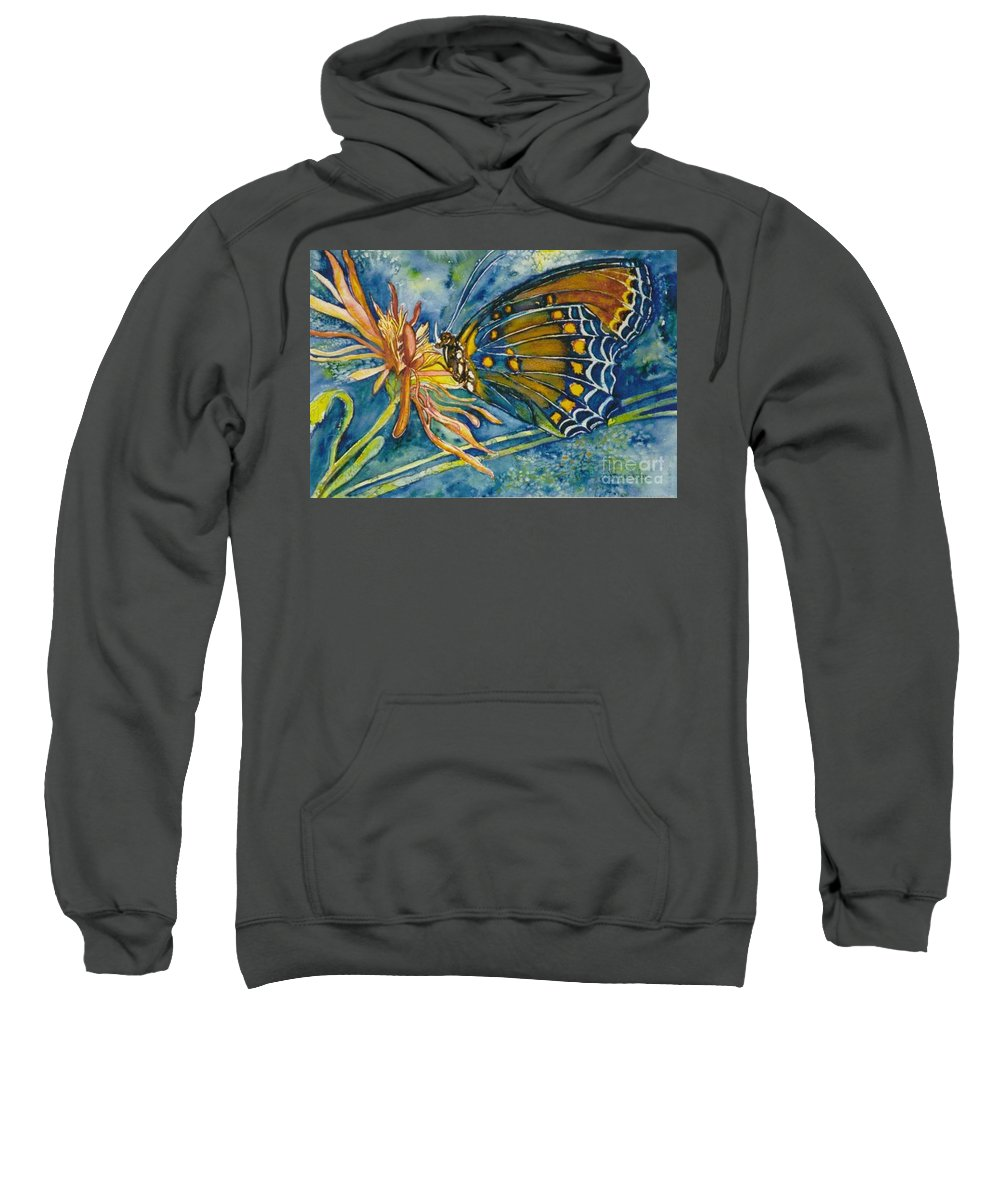 Butterflies Sweatshirt featuring the painting Butterfly In Ca by Norma Boeckler