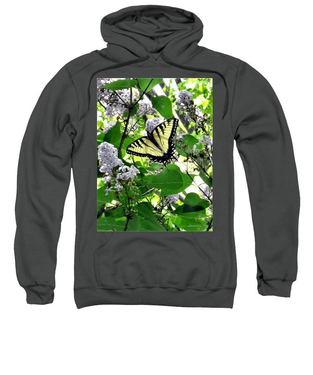Butterfly Sweatshirt featuring the photograph Butterfly In The Lilac No. 1 by T Cook