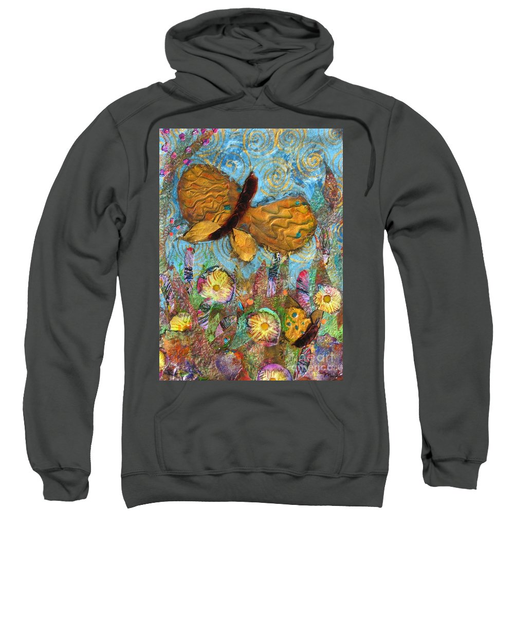 Acrylic Sweatshirt featuring the mixed media Butterfly Meadow by Maria Watt