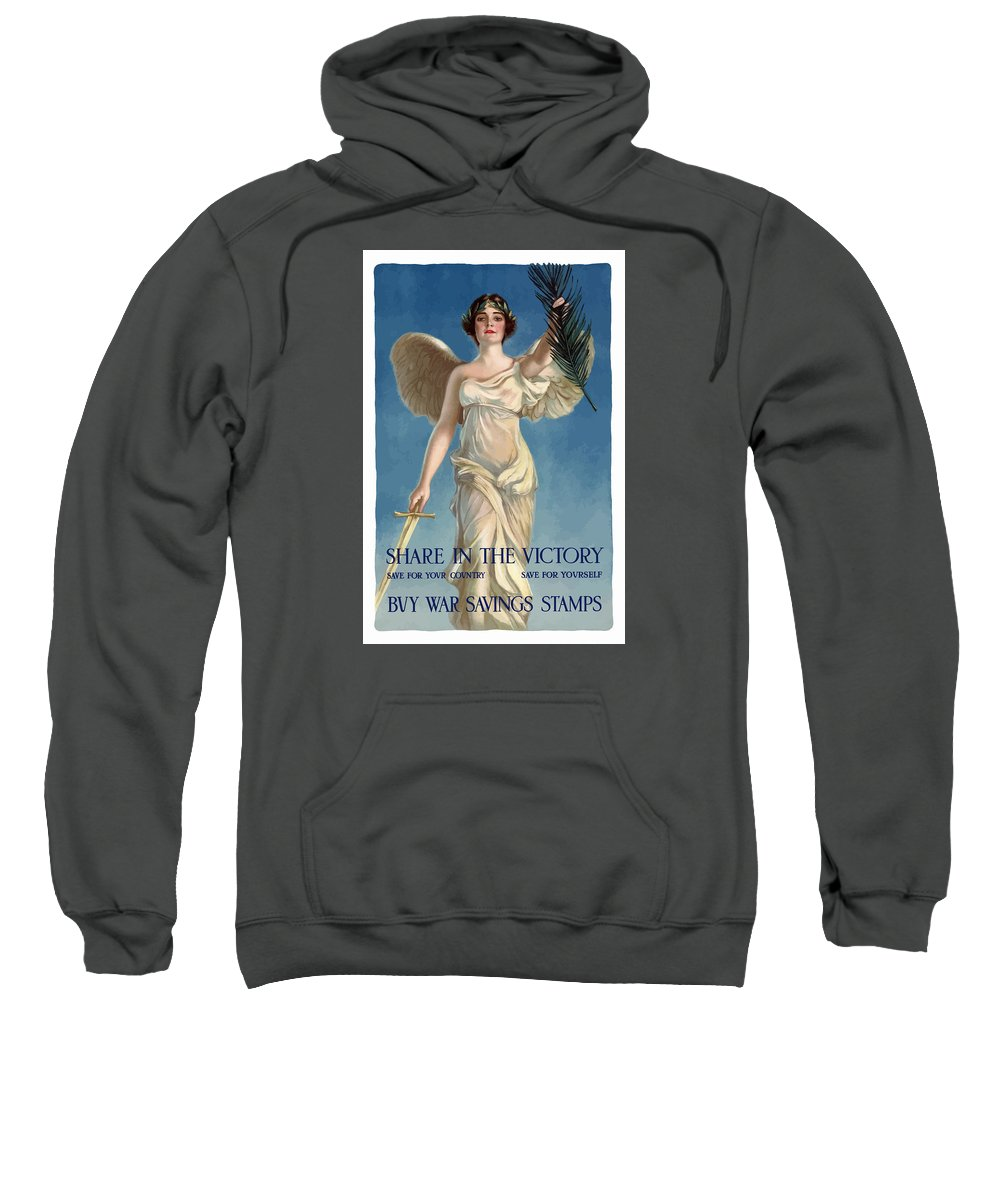 Lady Liberty Sweatshirt featuring the painting Buy War Savings Stamps by War Is Hell Store