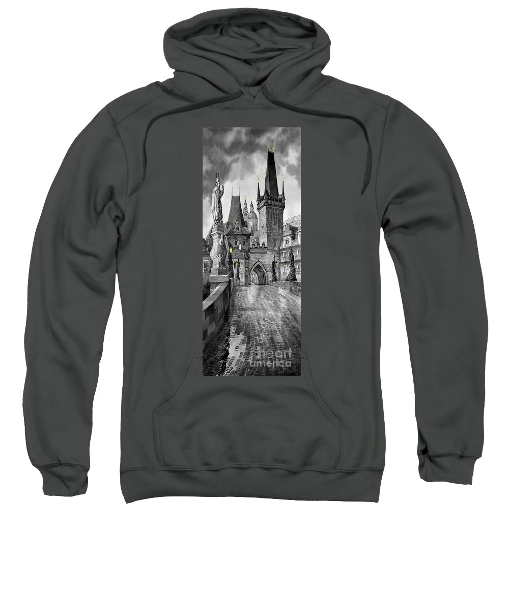 Prague Sweatshirt featuring the painting Bw Prague Charles Bridge 02 by Yuriy Shevchuk