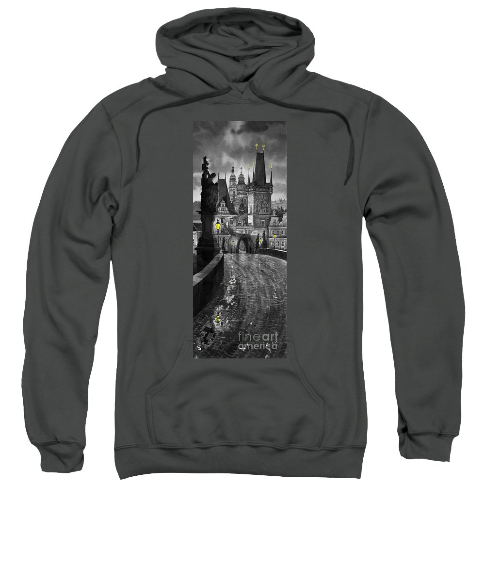 Prague Sweatshirt featuring the painting Bw Prague Charles Bridge 03 by Yuriy Shevchuk