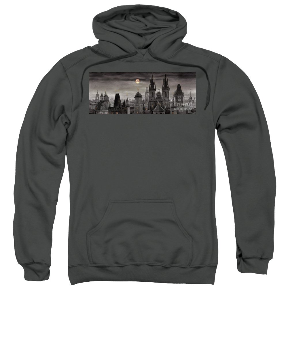 Cityscape Sweatshirt featuring the painting Bw Prague City Of Hundres Spiers by Yuriy Shevchuk
