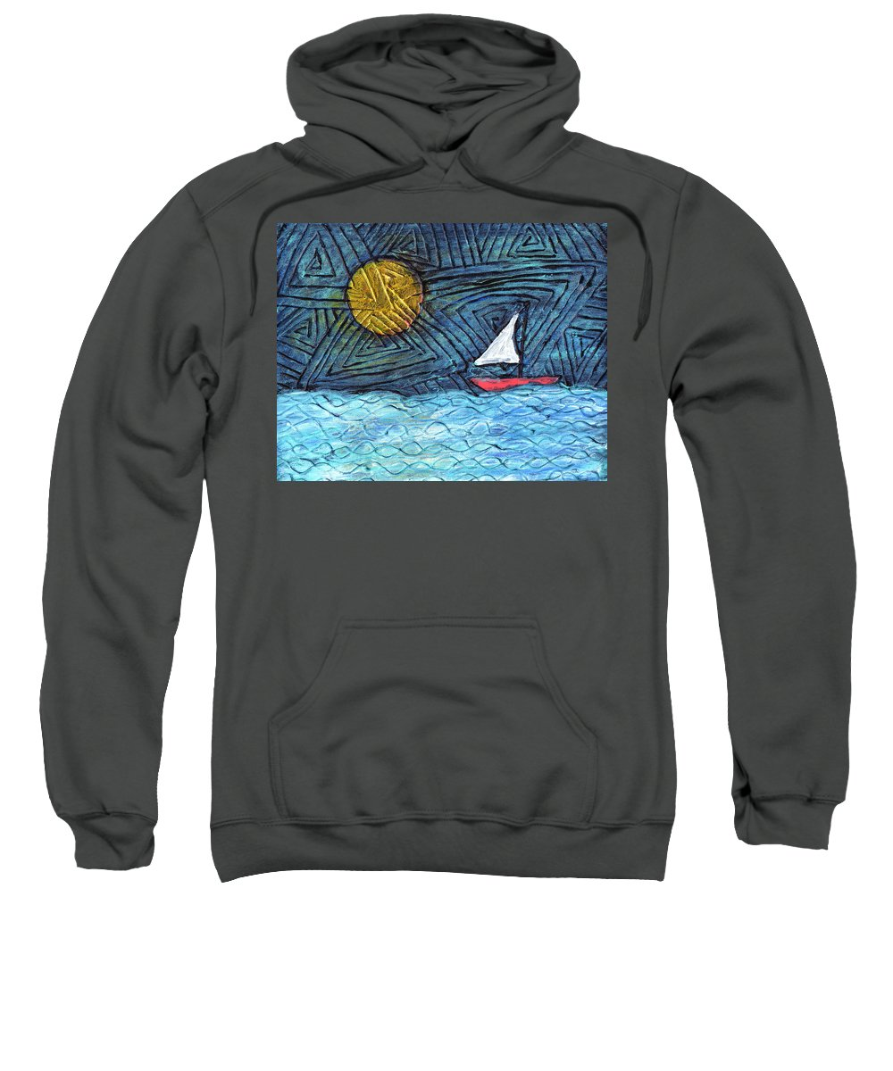 Sail Boat Sweatshirt featuring the painting By The Light Of The Moon by Wayne Potrafka