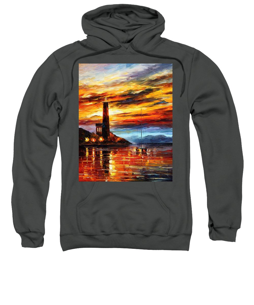 Afremov Sweatshirt featuring the painting By The Lighthouse by Leonid Afremov