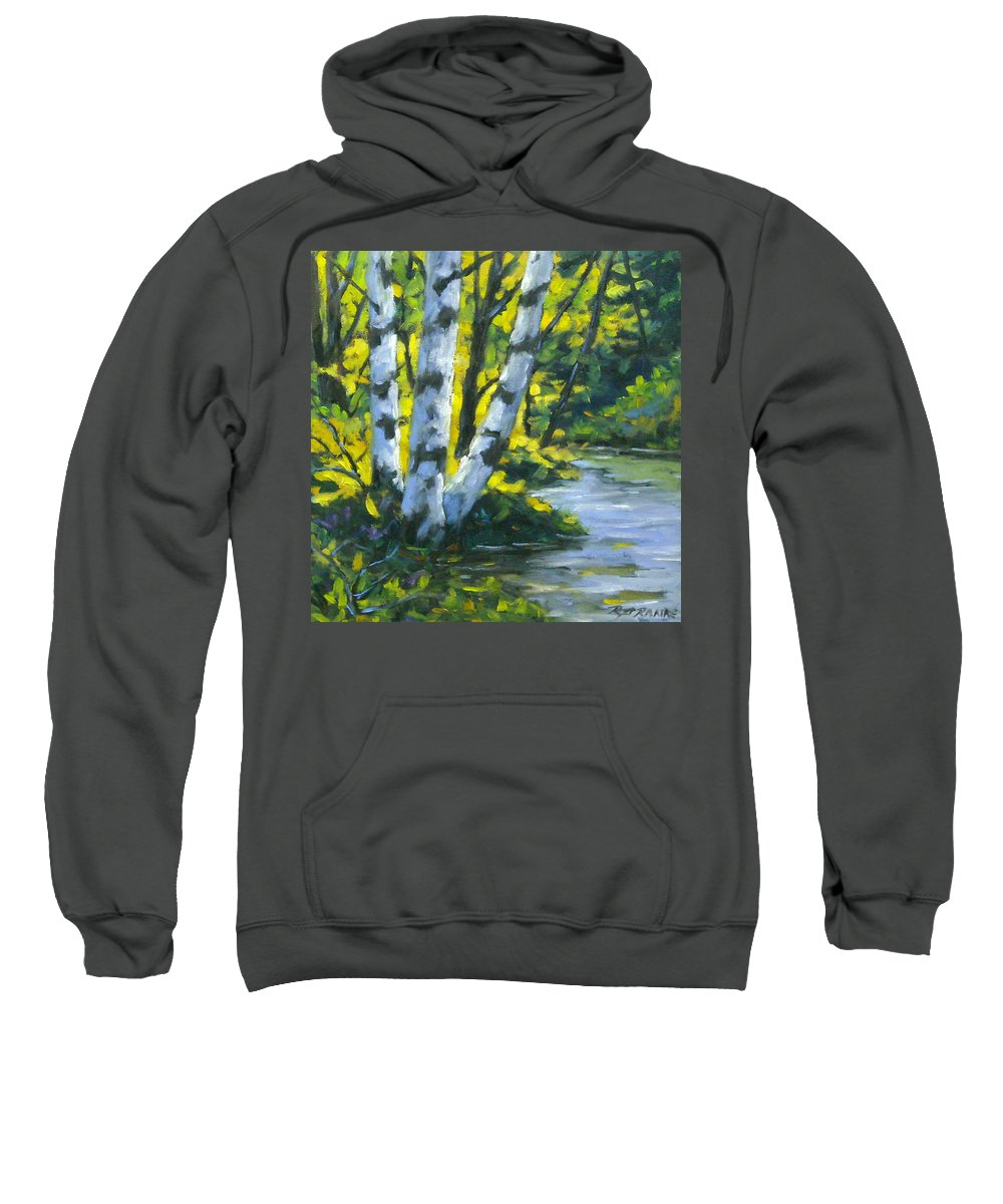 Art Sweatshirt featuring the painting By The River by Richard T Pranke