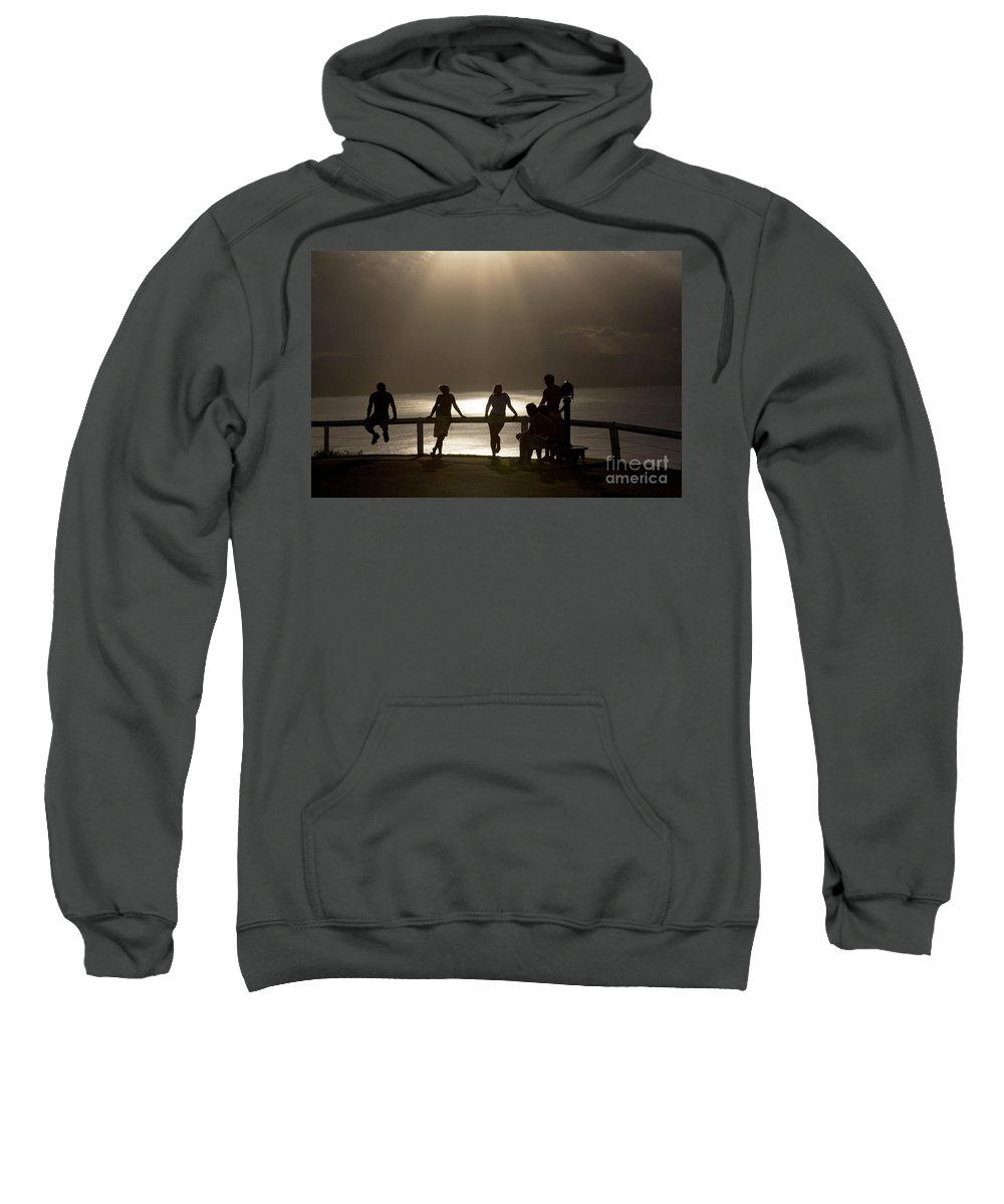 Byron Bay Lighthouse Silhouette Sunset Rays Sweatshirt featuring the photograph Byron Bay Lighthouse by Sheila Smart Fine Art Photography