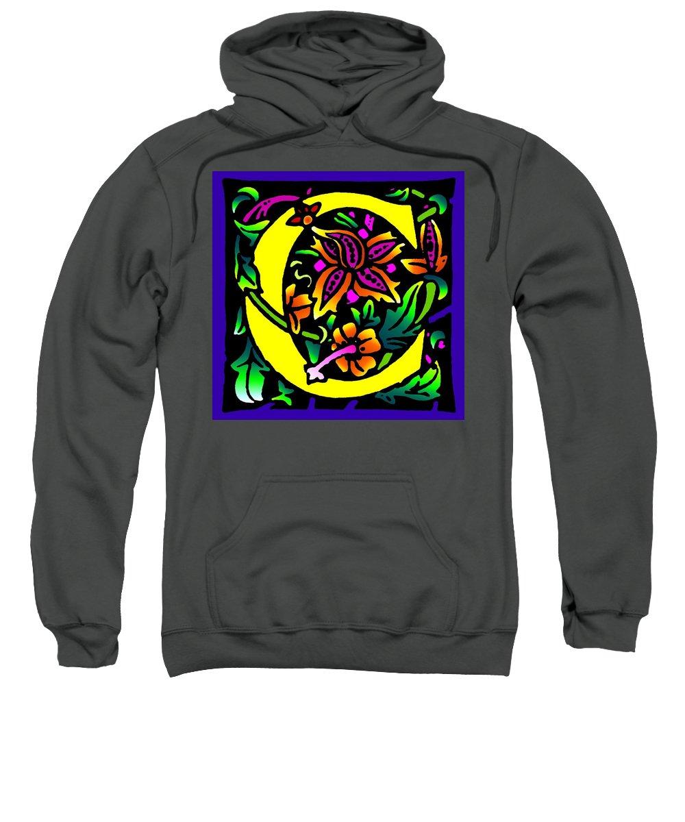 Alphabet Sweatshirt featuring the digital art C In Yellow by Kathleen Sepulveda