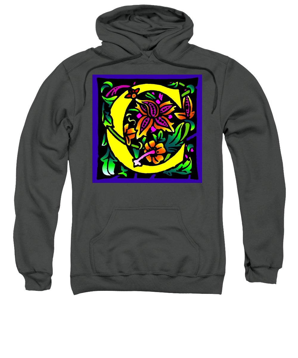 Alphabet Sweatshirt featuring the digital art C In Yellow by Kathleen Sepulveda