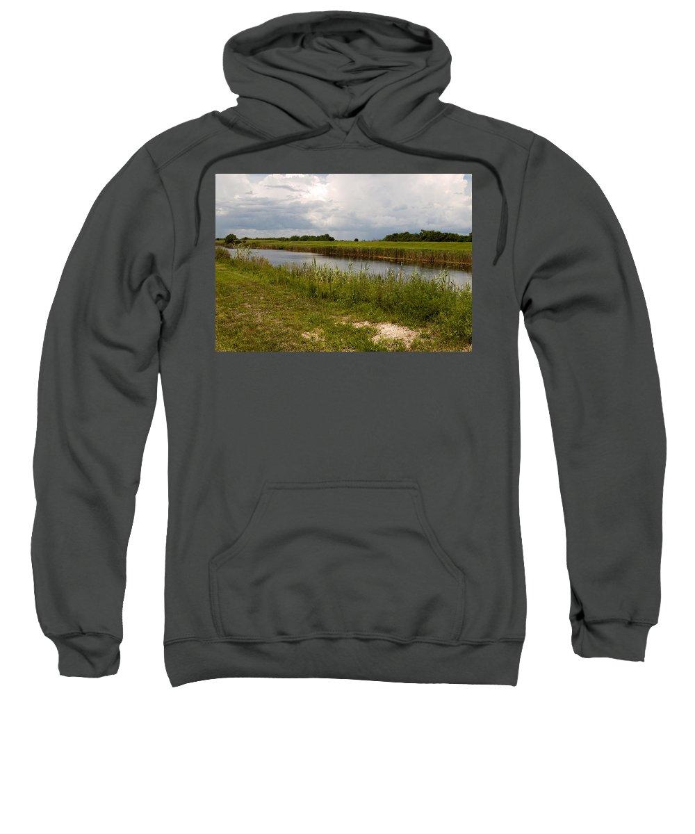 Florida; C54; Canal; Fellsmere; Sebastian; Grade; Drain; Draining; Water; Flow; Flowing; Indian; Riv Sweatshirt featuring the photograph C54 Canal In Florida by Allan Hughes