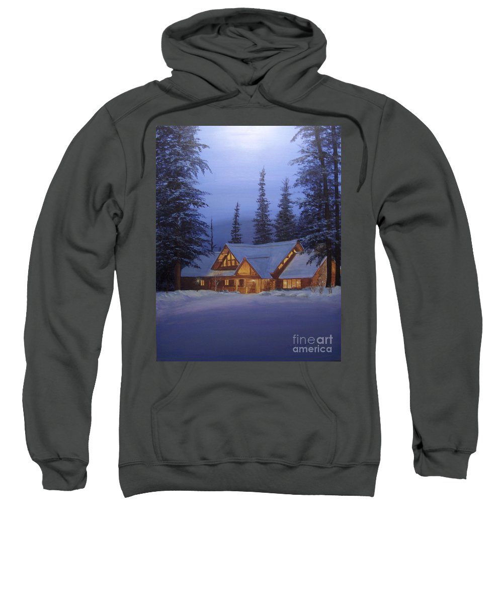 Trees Sweatshirt featuring the painting Cabin In The Woods by Gail Finger