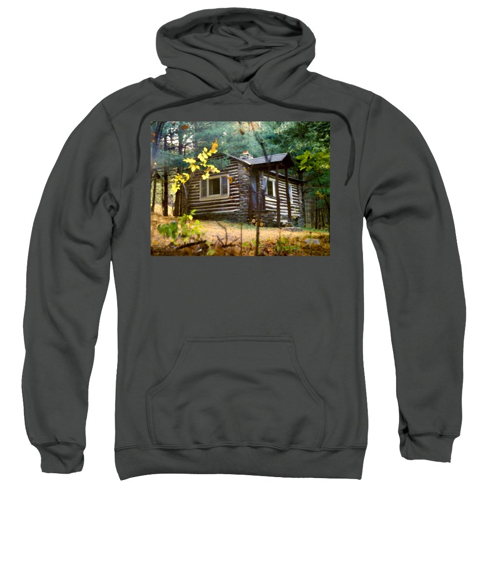 Log Cabin Sweatshirt featuring the painting Cabin In The Woods by Paul Sachtleben