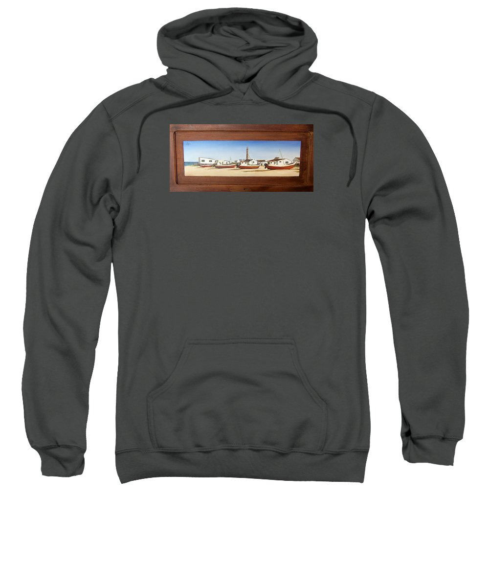 Landscape Seascape Uruguay Beach Boats Sea Lighthouse Sweatshirt featuring the painting Cabo Polonio 2 by Natalia Tejera