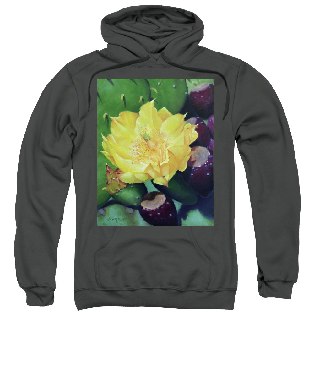 Floral Sweatshirt featuring the painting Cactus Rose by Teri Rosario