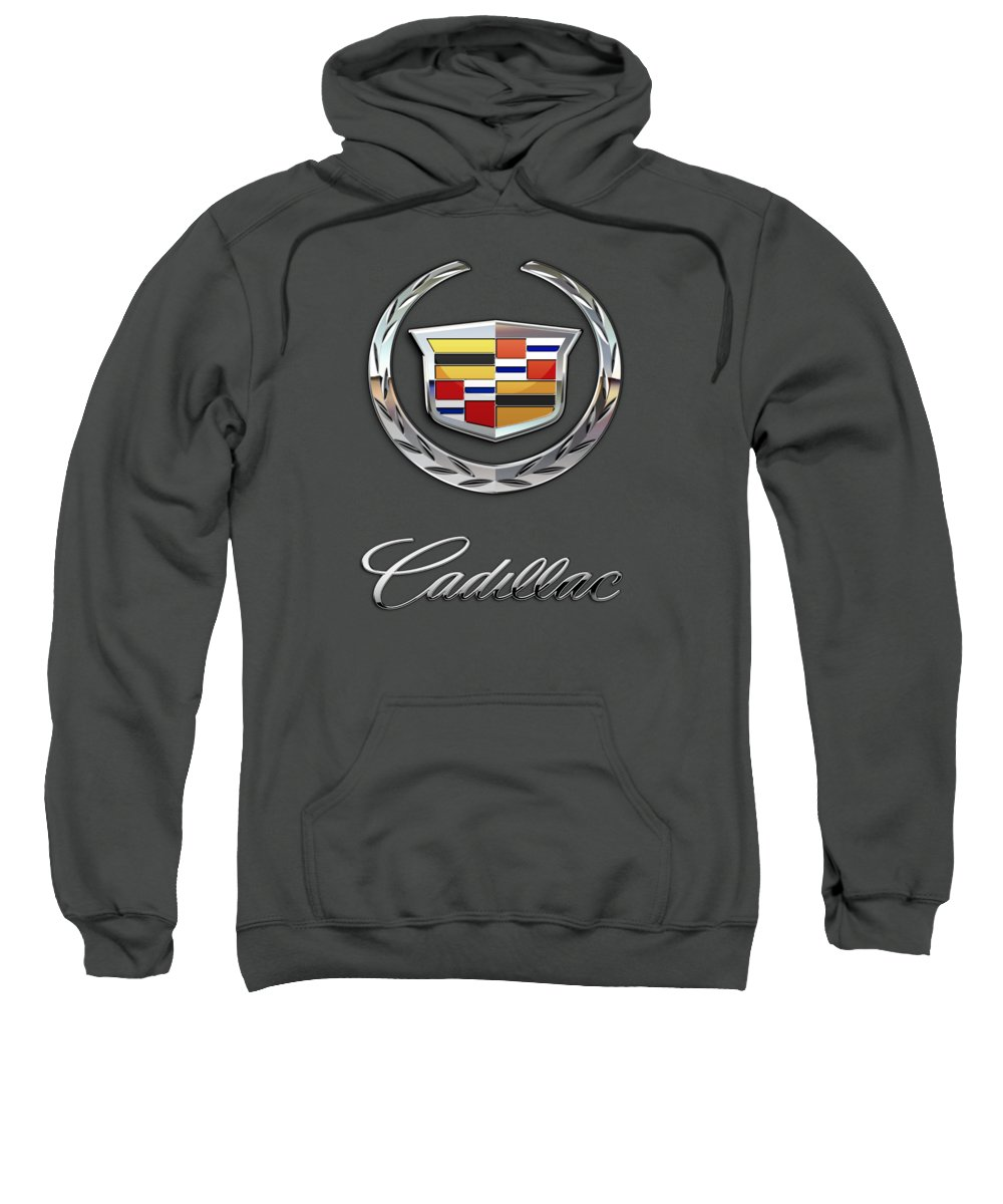 �wheels Of Fortune� Collection By Serge Averbukh Sweatshirt featuring the photograph Cadillac - 3 D Badge On Red by Serge Averbukh