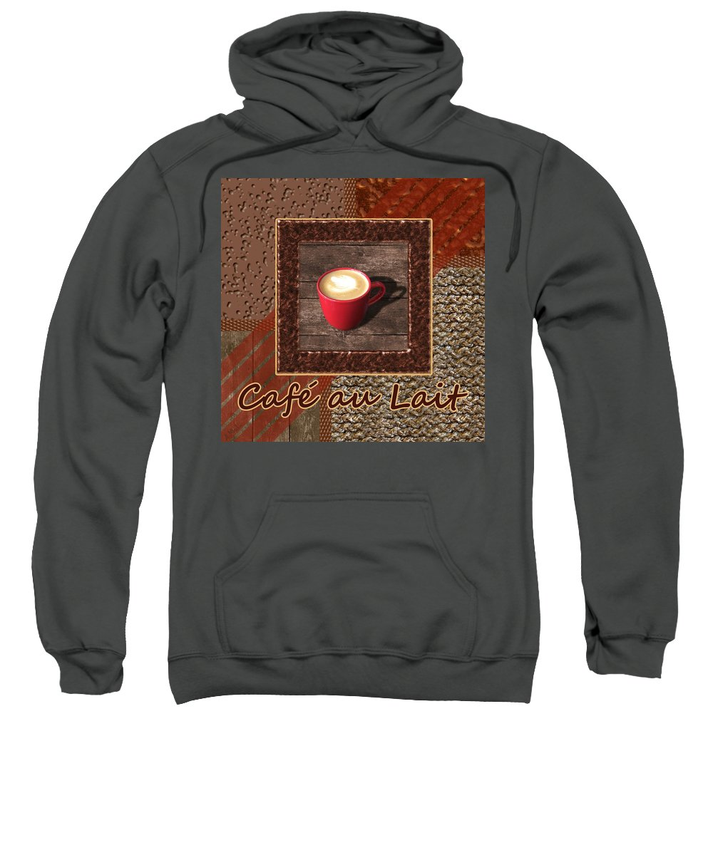 Coffee Sweatshirt featuring the photograph Cafe Au Lait - Coffee Art - Red by Anastasiya Malakhova