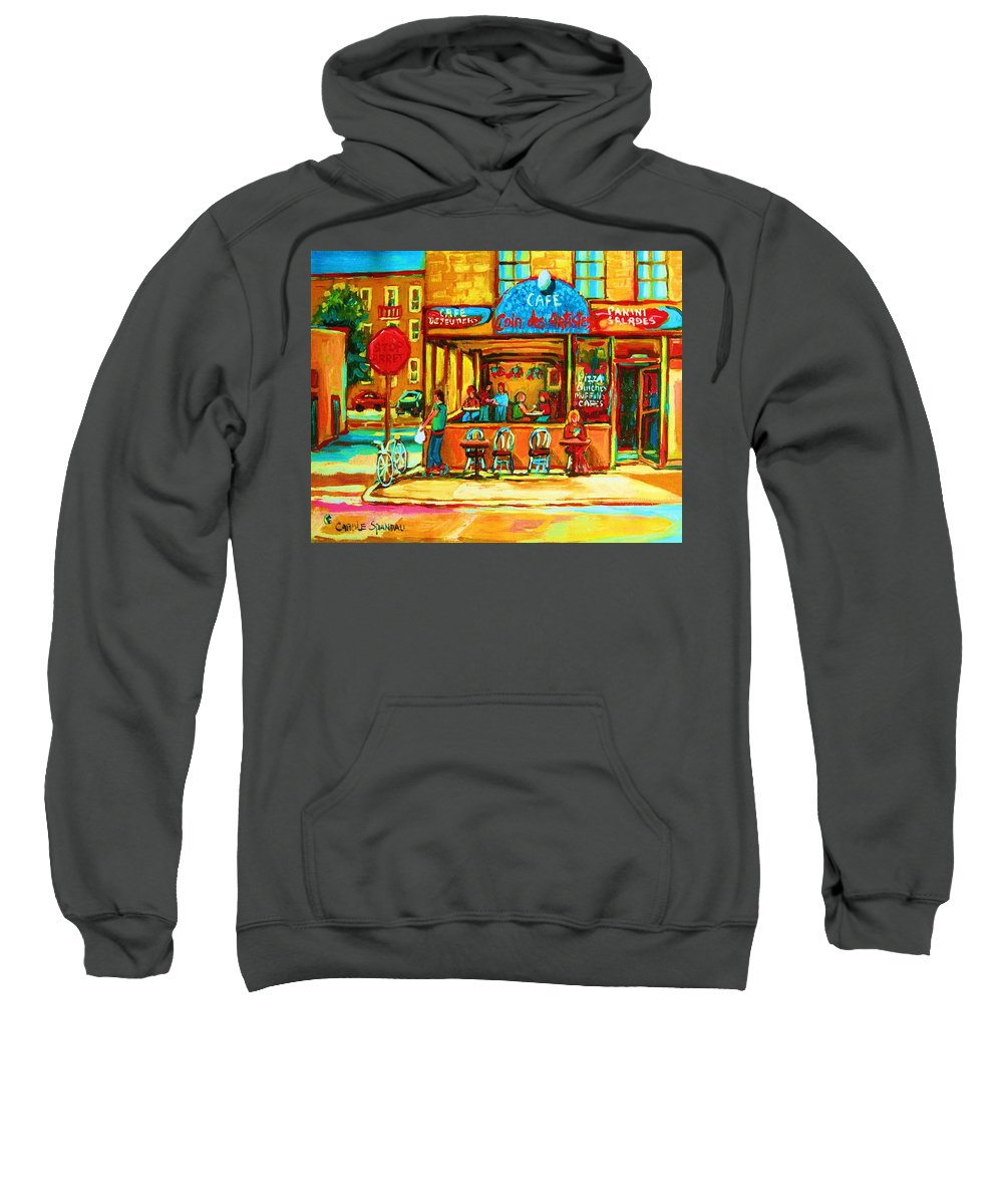 Cafes Sweatshirt featuring the painting Cafe Coin Des Artistes by Carole Spandau