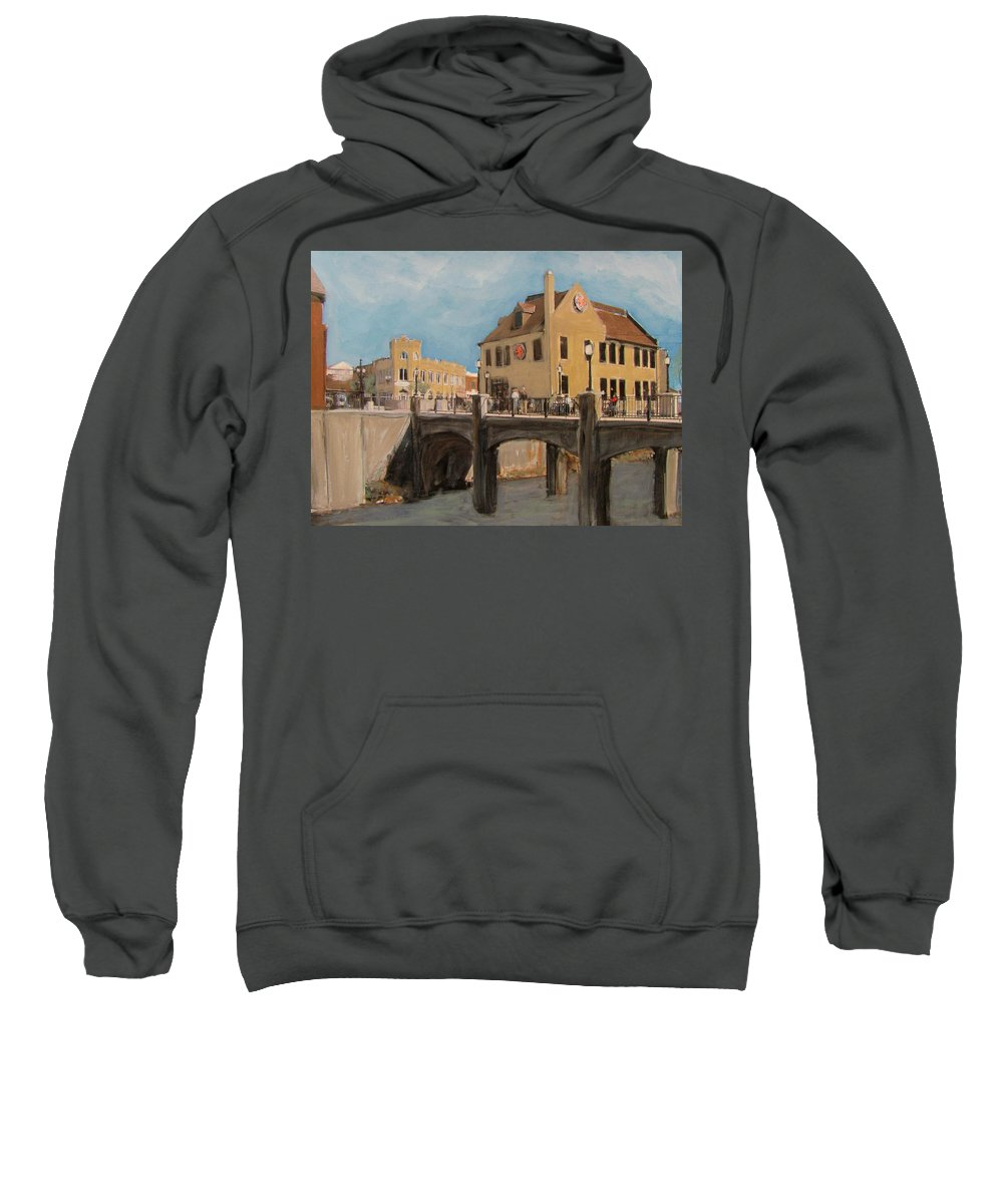 Milwaukee Sweatshirt featuring the mixed media Cafe Hollander 1 by Anita Burgermeister