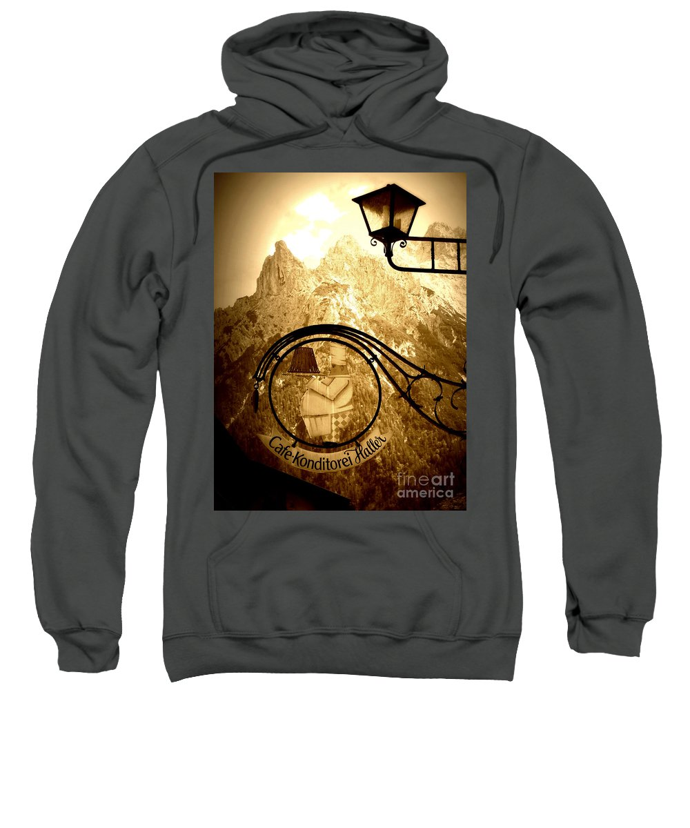 Cafe Sign Sweatshirt featuring the photograph Cafe Sign In Bavarian Alps by Carol Groenen