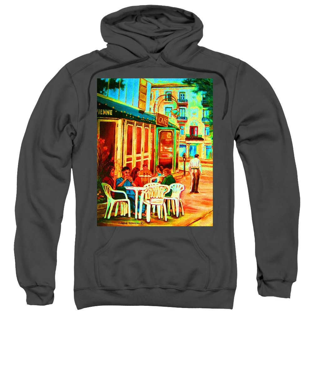 Cafes Sweatshirt featuring the painting Cafe Vienne by Carole Spandau
